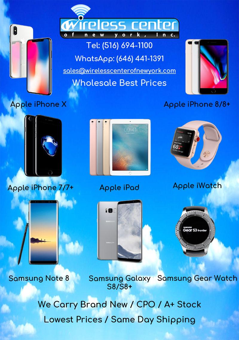 Wireless Center of New York: Mejores precios al por mayor, Celulares Apple y Samsung