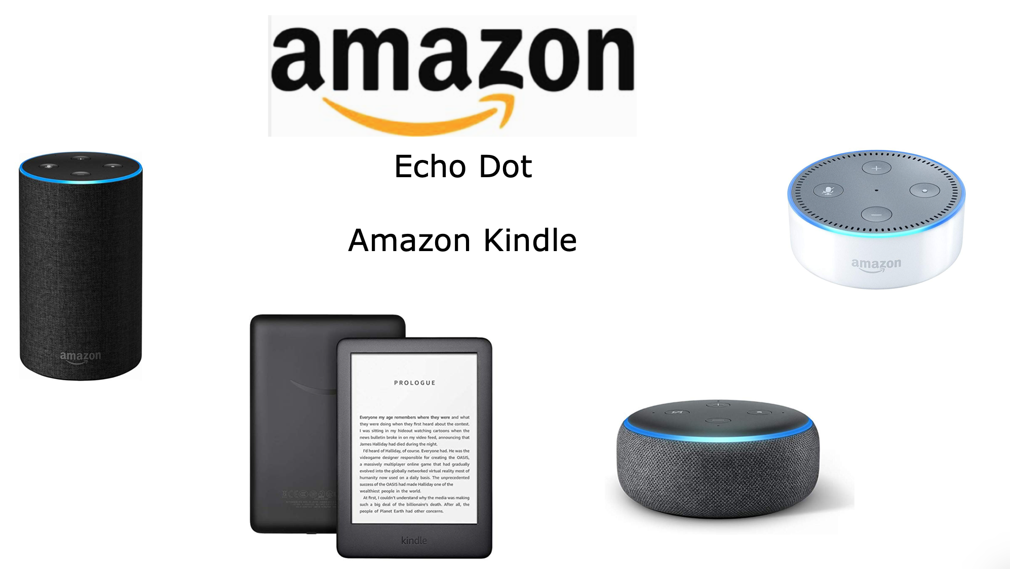 Amazon Kindle, Echo Dot, Amazon Alexa