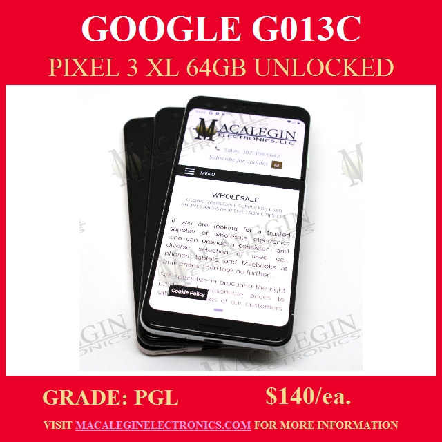 GOOGLE-G013C-PIXEL-3-XL-64GB-Tested and Graded